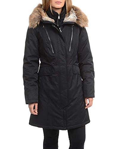 1 Madison Maxi Down Coat with Detachable Faux Fur Hood for Women (Black, 3X-Large)