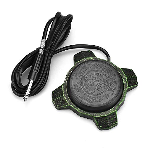 ATOMUS Tattoo Round Foot Pedal Switch with Silicone Clip Cord Aluminum Alloy Tattoo Foot Pedal for Tattoo Machine Power Supply (Green)