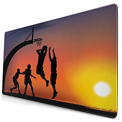 HUAYEXI Alfombrilla Gaming,Muchachos Jugando Baloncesto al Atardecer,Horizonte,Cielo,Escena dramática,con Base de Goma Antideslizante,750×400×3mm
