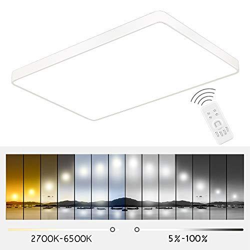 ETiME 96W Ultraslim Deckenleuchte LED Dimmbar 2700K-6500K Deckenlampe mit Fernbedienung 8640LM Wohnzimmer Energiespar Küche Panel Leuchte Spannung 85V-265V (Weiß Dimmbar mit FB, 90x60cm)