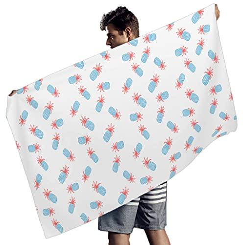 Ktewqmp Toalla de baño de microfibra, tamaño grande, con piña y patrotismo, para la playa, hotel, playa, para hombre, color blanco, 150 x 75 cm