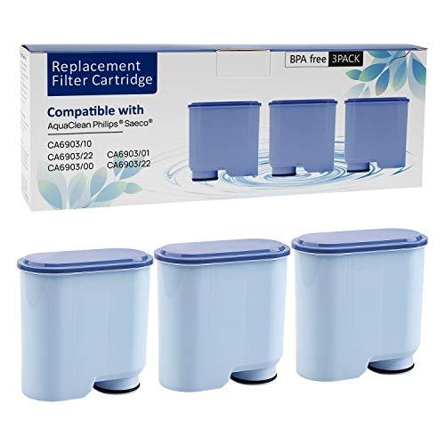 3 Stück Wasserfilterpatrone für Philips und Saeco Kaffeemaschinen, Wasserfilter zur Verhinderung von Kalkablagerungen für die automatische AquaClean-Kaffeemaschine CA6903 / 10/00/01/22/47 (3PACK)