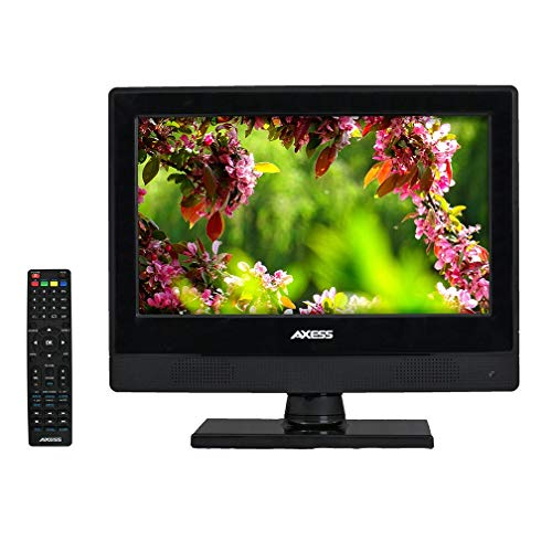 13.3 Inch Digital LED HD TV DVD Combo Wide HDTV ATSC NTSC Monitor, LCD w/Stand, HDMI, RCA, Component, USB, VGA, Coax, SD, AV, Audio, RF, Inputs, AC/DC, Wall Mountable Stereo Speaker Axess TVD-1805-13