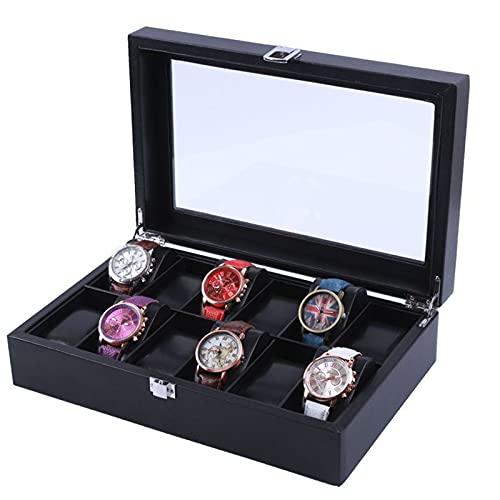 YUIJ Cuadro de Reloj de 12 tragamonedas, Reloj de joyería para Hombres, Organizador de Reloj de Cuero PU y Estuche de Pantalla con Tapa de Vidrio
