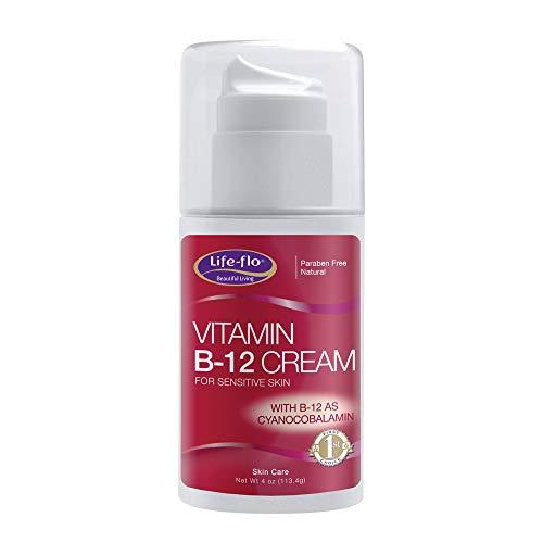 Life-Flo Vitamin B-12 Cream for Sensitive Skin   Soothes & Moisturizes   with Aloe Vera, Avocado Oil, VIT. E & Sangre De Grado   Unscented   4oz