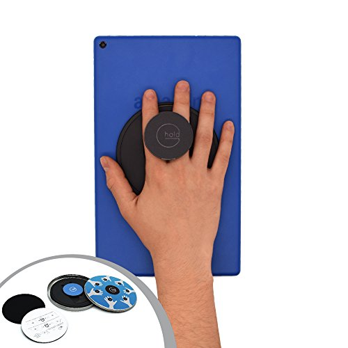 G-Hold - Comfort holder works with all tablets, Amazon Fire, Fire tablet cases, e-Readers, with low profile VELCRO Brand base - ergonomic, rotating, folds flat and adjustable (Black)