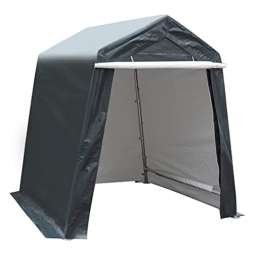 Laurel Canyon Shed Storage Shelter Outdoor Carport Canopy with Detachable Roll-up Zipper Door Portable Garage Tent Kit for Motorcycle Gardening Vehicle ATV and Car, Gray, 6x6ft