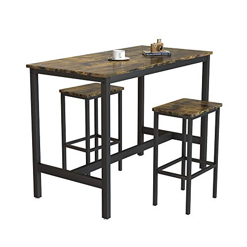 Bar Table and Stools Set Home Bar Unit 3 Pieces Space Saving Dining Table and Chairs Set 2 Seater Dining Sets Industrial Bar Stools and Table Set for Kitchen Island Dining Room Sets (Rustic Brown)