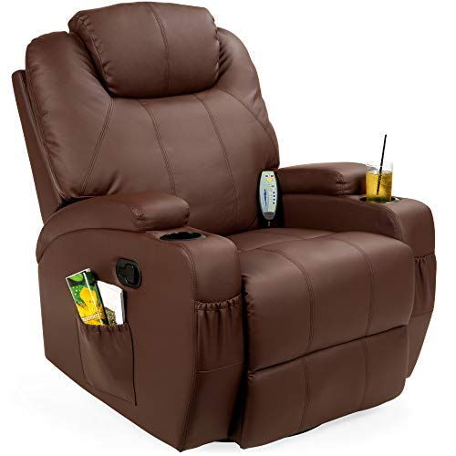 Best Choice Products Executive Faux Leather Swivel Electric Massage Recliner Chair w/Remote Control, 5 Heat & Vibration Modes, 2 Cup Holders, 4 Pockets - Brown