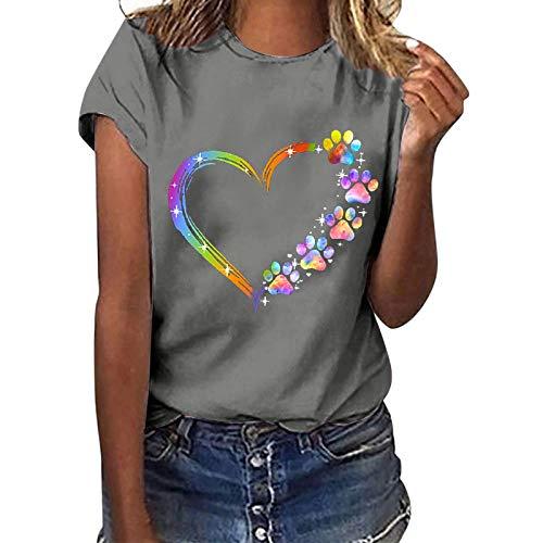 Camiseta de manga corta para mujer, verano, estampado de girasol, moderna, cuello redondo, informal, básica, para adolescentes, niñas, mujeres, camisa, túnica, gris, S