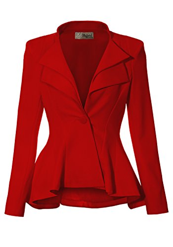 Women Double Notch Lapel Office Blazer JK43864 1073T RED 1X