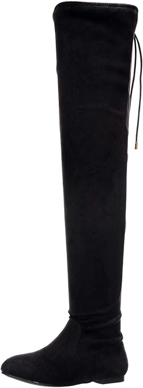 Nature Breeze Vickie-41TH Women's Stretchy Thigh High Flat Heel Boot