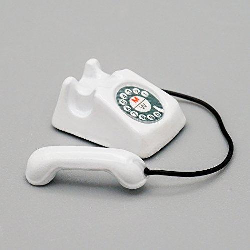 Odoria 1/12 Miniatura Teléfono Blanco Decorativo para Casa de Muñecas