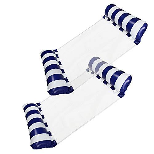 [2Stück] Aufblasbare Wasser Hängematte Pool Float Bed Lounger Stuhl Drifter für Swimmingpool Beach Holiday Party (Dark Blue*2)