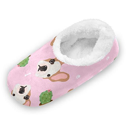 TropicalLife iRoad Animal Bulldog Cactus Fuzzy Feet Zapatillas de casa tranquilas zapatos de casa antideslizantes cálidos calcetines de casa para mujeres y hombres en interiores, color, talla Medium