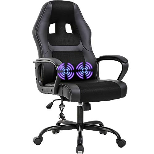 PC Gaming Chair Office Chair Ergonomic Desk Chair Adjustable PU Leather Racing Chair with Lumbar Support Headrest Armrest Task Rolling Swivel Computer Chair for Women Adults(Black)