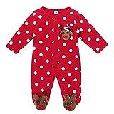 iixpin Ropa Recién Nacido Bebé Unisex Pijama de Algodón Mameluco Invierno de Fiesta Navidad Pelele Lunares Mono Manga Larga Body de Reno Pijamas 0-12Meses Rojo 0-3 Meses