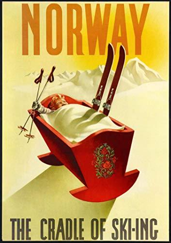 Calendario de pared 2020 [12 páginas 8 x 11 pulgadas] Póster de viaje vintage de esquí Europa Deporte de invierno