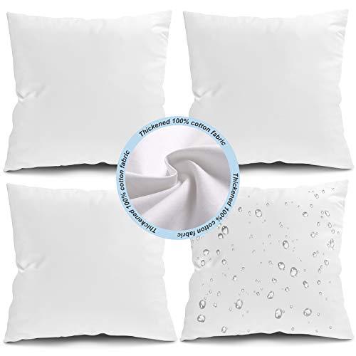 Fixwal 45.7 x 45.7 cm para exteriores, cojín cuadrado para sofá, almohada decorativa para cama, sala de estar, jardín, banco de patio (blanco), paquete de 4