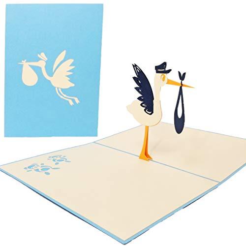 Favour Pop Up tarjeta de felicitación para nacimiento–Cigüeña. Diseño elegante, funciona mano y sofisticada Tecnología Laser Guardar en un espacio reducido de crear una filigrana de arte.. tn025