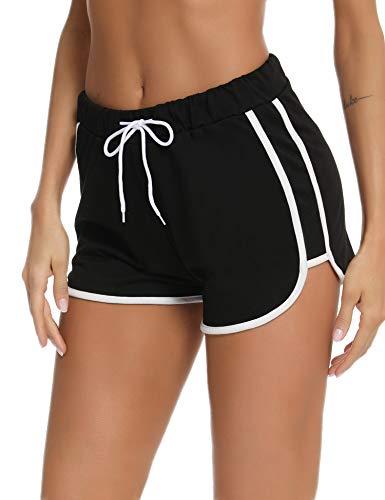 NewPI Sporthose Damen Kurz Hosen Shorts Baumwolle Sommer Sporthose Stoffhose Yoga Running Gym Beiläufige Elastische,S,Schwarz