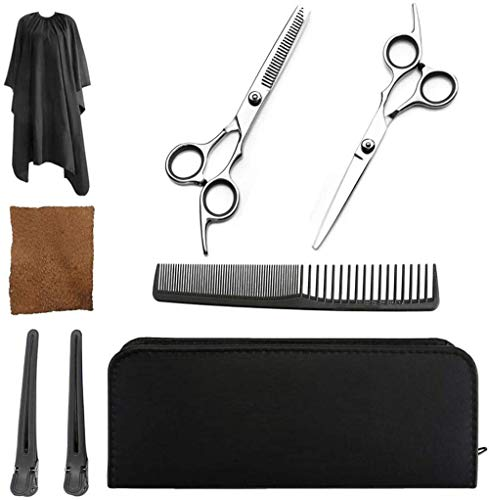 Scissors Professional Hairdressing Scissors Set With Wipe Cloth,thinning Shears,hair Razor Comb Clips Cape,scissors Wallet,upgraded Haircut Set For Barber Salon And Home-Black