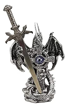 Ebros Gift Legendary Silver Dragon Guardian of The Celtic High Cross Letter Opener Figurine Sculpture Home and Office Decorative Sculpture Medieval Renaissance Dungeons and Dragons Fantasy