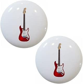 Set of 2 Red Guitar Ceramic Cabinet Drawer Pull Knobs