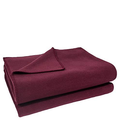 Soft-Fleece-Decke – Polarfleece-Decke mit Häkelstich – flauschige Kuscheldecke – 110x150 cm – 390 wine - von 'zoeppritz since 1828'
