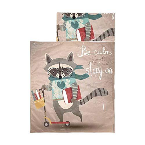 InterestPrint Lightweight Soft Kids Sleeping Bag for Hiking Cartoon Raccoon on Scooter