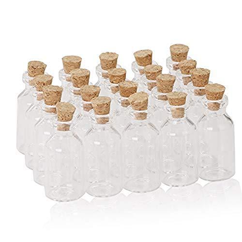 20unidades Tiny Mini vacío Borrar Cork botellas de vidrio viales