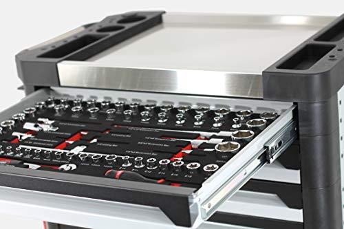 Ultra Edition Werkstattwagen | 7 Schubladen – 5 gefüllt mit Handwerkzeug | Werkzeugwagen abschließbar + COB Akku Arbeitsleuchte - 2