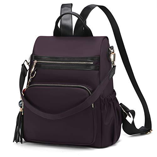 Wind Took Damen Rucksack Anti-Theft Handtaschen Umhängetasche Schultertasche Nylon Medium für Schule Büro Alltag, 2 in 1 als Rucksack und Schultertasche, 29 x 13 x 32 CM, Dunkelrot
