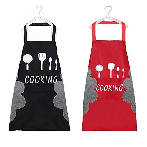 N/O Delantal de Cocina 2 Adorable Delantales de Cocina Delantal Suave Negro y Rojo con Bolsillos Impermeable y fácil de Limpiar Hecho de Tela Impermeable y Lana de Coral Unisex