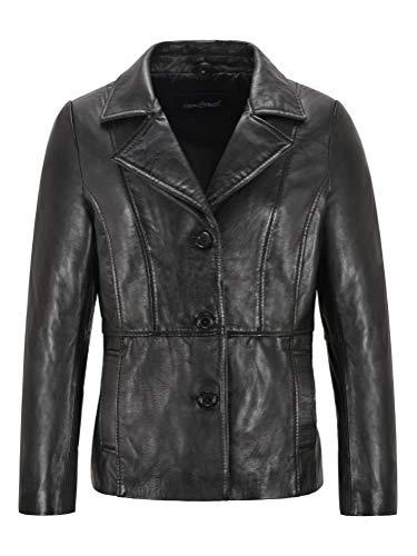 Carrie CH Hoxton 1392/5000 Chaqueta de Cuero para Mujer Chaqueta Formal de Piel de Cordero Negra Chaqueta con 3 Botones 0002