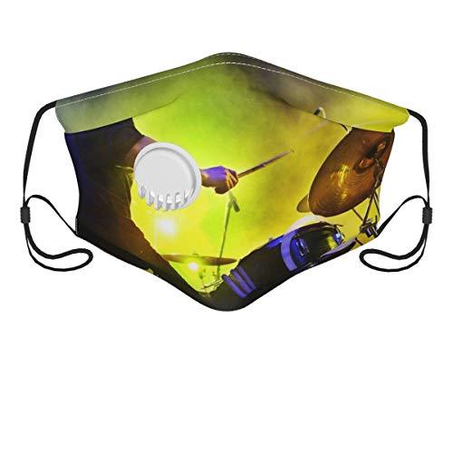 WHFSYGS Cubierta facial unisex con válvula de respiración, niño tocando la batería Concierto en vivo y luces de escenario Cubierta bucal con 2 filtros