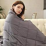 Cocobela Gewichtsdecke aus 100% Baumwolle, Schwere Decke Anti Stress, Beschwerte Decke Grau, Therapiedecke, Weighted Blanket für Erwachsene und Kinder, 7.2kg 150 x 200 cm
