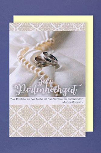 Perlen Hochzeit 30 Hochzeitstag Perlenhochzeit Karte Grußkarte Ringe 16x11cm