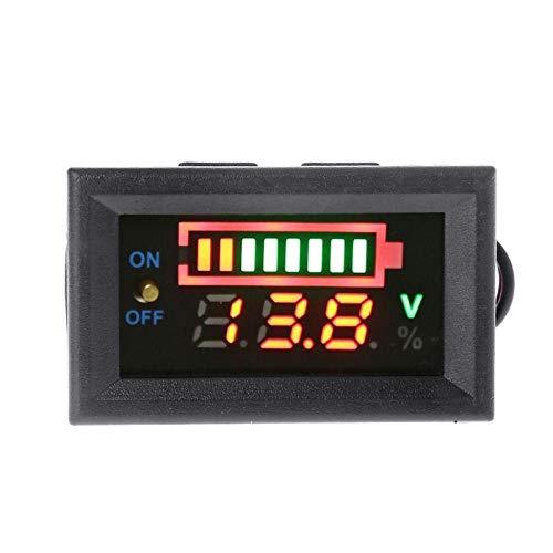 JHONG Indicador de Nivel de Carga de la batería de la batería del Plomo 12V Indicador de la batería de Litio Medidor de la batería Tester LED Tester Voltmeter Dual Pantalla (Color : 3S)