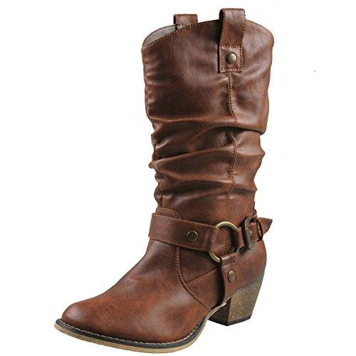 Refresh Wild-02 Cowboystiefel für Damen im Western-Stil, Braun (Premium Bräune), 40 EU