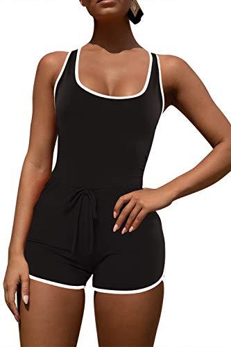 Pink Queen Women's Summer Tank Top Bodycon Shorts Sportswear Romper M Black