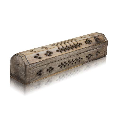 Wooden Incense Stick & Cone Burner Holder Coffin With Storage Compartment...