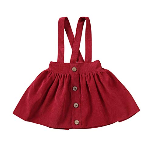 FEIXIANG Baby Girl Buttons Hosenträger Rock Overall Outfit Brace Sommer Plissee Minikleid Kleidung 1-6 Jahre alt