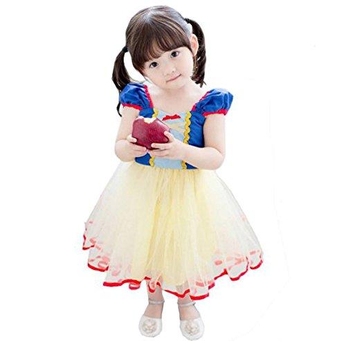 Tokkids - Vestito Costume da Principessa per Bambina, Occasione per Carnevale Compleanno Festa Halloween (Biancaneve) (120)