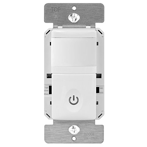 ENERLITES PIR Motion Occupancy Vacancy Motion Sensor, 500W, 4A, Motion Sensor Night Light, In-Wall Switch, Smart LED Backlight, Neutral Not Required, Ground Required, HMOS-J white, black, light almond