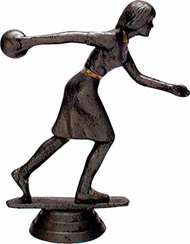 RaRu Bowling-Pokal (Damen) auf weißem Marmorsockel montiert mit Wunschgravur (34094)