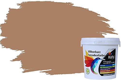 RyFo Colors Silikonharz Fassadenfarbe Lotuseffekt Trend Treibholz 1l - bunte Fassadenfarbe, weitere Braun Farbtöne und Größen erhältlich, Deckkraft Klasse 1
