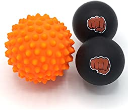WOD Nation Massage Ball Set - 2 Solid Rubber Lacrosse Balls and 1 Trigger Point Deep Tissue Spiky Ball - Perfect for Self Myofascial Release - Includes a Convenient Travel Bag (Orange & Black)