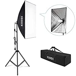ESDDI Softbox permanent light photo studio set daylight studio lights kit photo light soft box with 85W photo lamp tripod carrying case for studio portraits, product photography, fashion photos, etc.