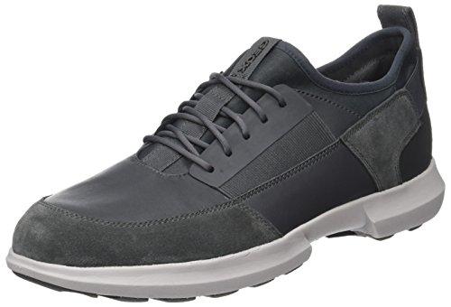 Geox Jungen J Bernie A Sneaker, Grau (Dk Grey/Red), 34 EU